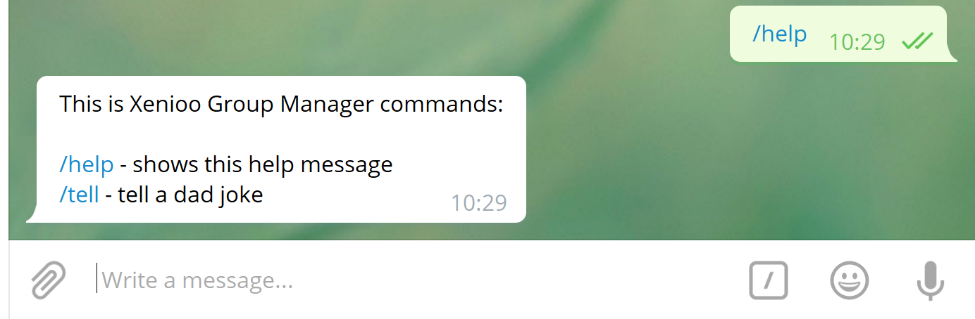 see the telegram group chatbot answer in preview