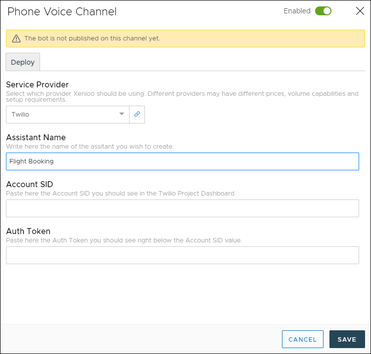 set up your phone bot voice channel